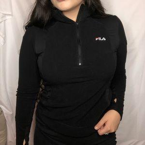 FILA Black Pull Over Long Sleeve Workout Jacket